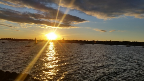 Sunset over Marblehead skyline from Chandler Hovery Park, Marblehead, MA